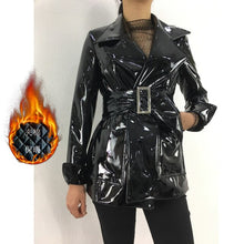 Load image into Gallery viewer, Winter Warm Coats Women Thicken Leather Trench Jackets with Belt Female Fashion Black Glossy Faux Pu Overcoats Long Wind Coat