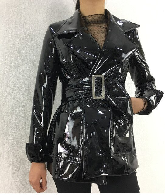 Winter Warm Coats Women Thicken Leather Trench Jackets with Belt Female Fashion Black Glossy Faux Pu Overcoats Long Wind Coat