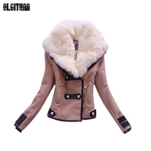 Load image into Gallery viewer, 2019 Fashion Winter Women's Warm Trench Coat Jackets Women's Jackets Big Fur Collar Famale Double-breasted Wool Coats Overcoat