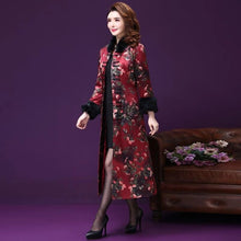 Load image into Gallery viewer, Winter Fall Vintage Chinese Style Woman Female Fur Collar Padded Warm Overcoat , Women Floral Thick Cheongsam Trench Coat