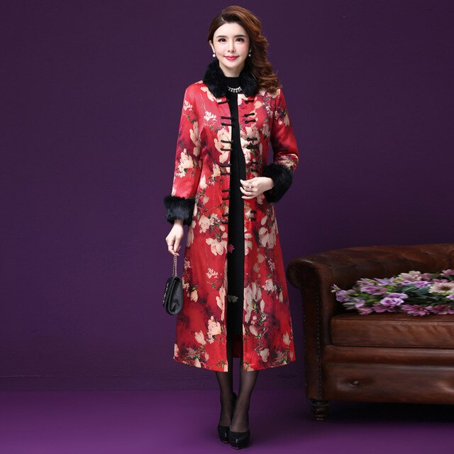 Winter Fall Vintage Chinese Style Woman Female Fur Collar Padded Warm Overcoat , Women Floral Thick Cheongsam Trench Coat