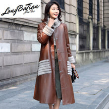 Load image into Gallery viewer, Leather Winter Genuine Jacket Women Mink Fur Collar 100% Sheepskin Coat Female Korean Long Trench Coats MY4053