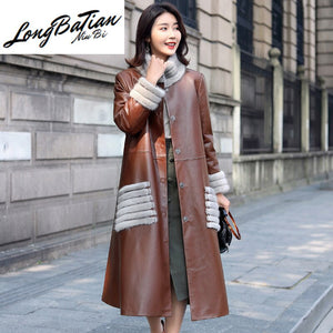 Leather Winter Genuine Jacket Women Mink Fur Collar 100% Sheepskin Coat Female Korean Long Trench Coats MY4053