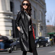 Load image into Gallery viewer, 2018 Spring Women's Fashion Slim Split Elegant Genuine Leather Windbreaker Trench Ladies Single Breasted Sheepskin Coat Outwear