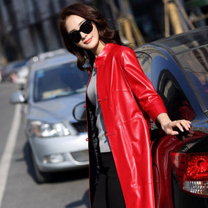2018 Spring Women's Fashion Slim Split Elegant Genuine Leather Windbreaker Trench Ladies Single Breasted Sheepskin Coat Outwear
