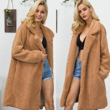 Load image into Gallery viewer, Faux Fur Lamb Wool Long Shaggy Cardigan Lapel Collar Warm Fluffy Jacket Teddy Bear Coat Plus Size Trench Winter Coat Outerwear