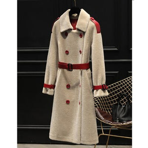 Denny&Dora Women's Faux Fur Coat Sheepskin Shearling Jacket Winter Long Trench Women Overcoat Luxury Thicken Warm Coat