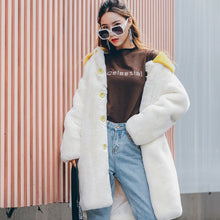 Load image into Gallery viewer, 2020 new imitation rabbit fur coat Korean sweet mid-length fur trench coat personality imitation fur women's sweater coat