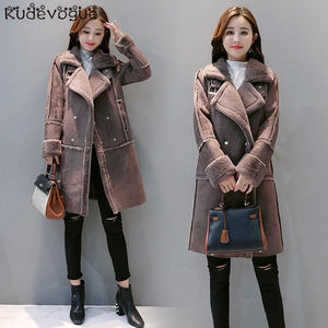 Winter Coat Gifts For Women Loose Thick Thermal Plush Fur Long Jacket Overcoat Female Solid Warm Trench Coats For drop shipping