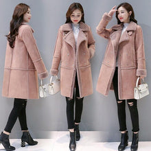 Load image into Gallery viewer, Winter Coat Gifts For Women Loose Thick Thermal Plush Fur Long Jacket Overcoat Female Solid Warm Trench Coats For drop shipping