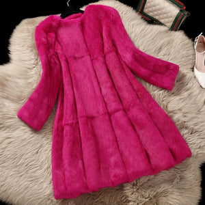2017 Korean Style Lady Real Rabbit Fur Coat Jacket O-Neck Autumn Winter Women Fur Trench Outerwear Coats Garment VF1088