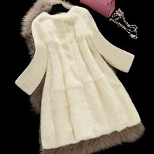 Load image into Gallery viewer, 2017 Korean Style Lady Real Rabbit Fur Coat Jacket O-Neck Autumn Winter Women Fur Trench Outerwear Coats Garment VF1088