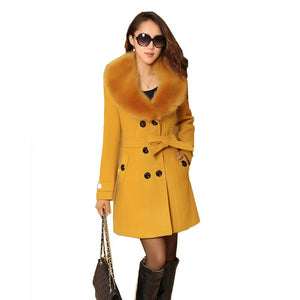 Womens Faux Fur Collar Solid Trench Coats Lady Slim Double Breasted Woolen Jackets Coat New Autumn Winter Female Outwear 5XL