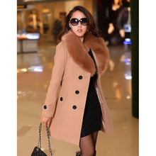 Load image into Gallery viewer, Womens Faux Fur Collar Solid Trench Coats Lady Slim Double Breasted Woolen Jackets Coat New Autumn Winter Female Outwear 5XL