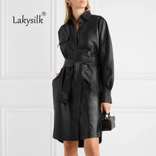 Load image into Gallery viewer, Black PU Leather Long Jacket 2020 New Winter Women Loose Belt PU Leather Windbreaker Pocket Trench Coat Slim Autumn Jackets