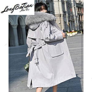 Female Real Coat Rabbit Liner Parka Winter Jacket Women Raccoon Fur Collar Long Trench Coats Chaqueta Mujer