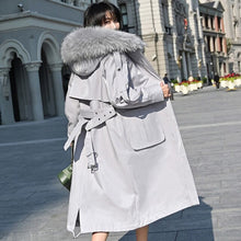 Load image into Gallery viewer, Female Real Coat Rabbit Liner Parka Winter Jacket Women Raccoon Fur Collar Long Trench Coats Chaqueta Mujer