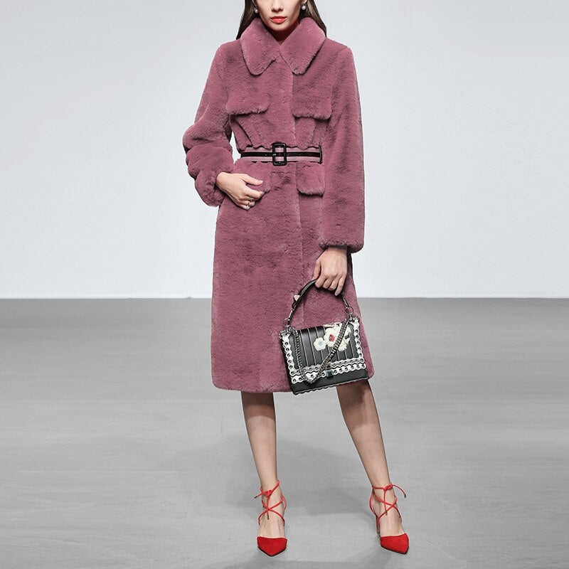 High-end Luxury Imitated Fur Coat Outwear 2019 Winter Medium Long Trench Coat For Women + Belt