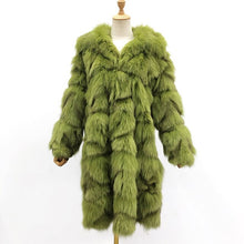 Load image into Gallery viewer, Winter Trendy Fur Coat Short Style Real Fox Fur Fashion Long Style Genuine Fur Trench Coat For Women