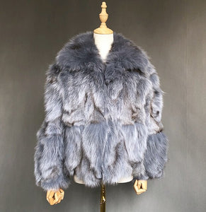 Winter Trendy Fur Coat Short Style Real Fox Fur Fashion Long Style Genuine Fur Trench Coat For Women