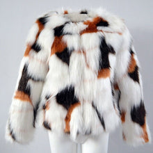 Load image into Gallery viewer, Womens Round Collar Slim Fit Short Colorful Fur Trench Casual Warm Outwear Autumn  Winter New  Fashion  Imitation Fur Coat