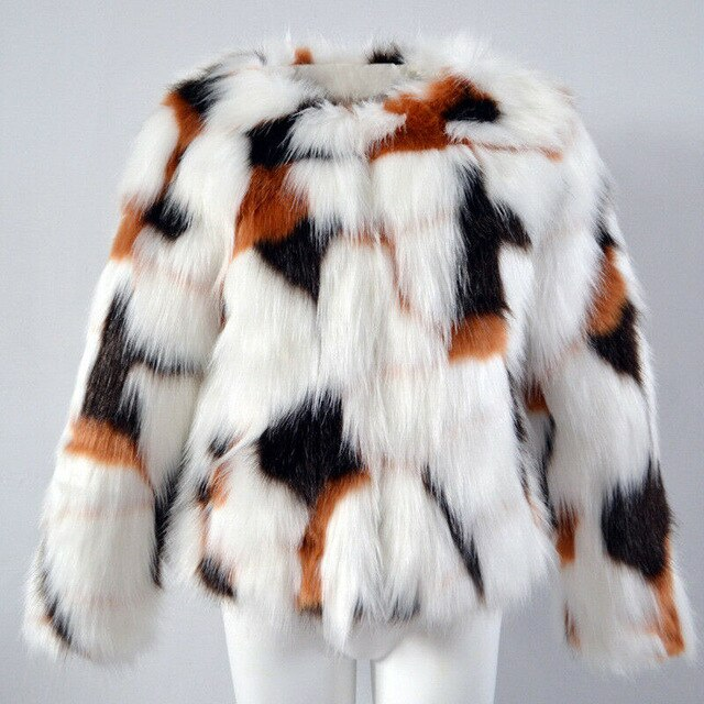 Womens Round Collar Slim Fit Short Colorful Fur Trench Casual Warm Outwear Autumn  Winter New  Fashion  Imitation Fur Coat