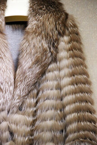 MLHXFUR 100 cm Real Golden Red Fox Fur stripes patchwork Large Turn Down Collar coat outwear long jacket winter parka Trench
