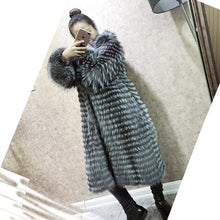 Load image into Gallery viewer, MLHXFUR 100 cm Real Golden Red Fox Fur stripes patchwork Large Turn Down Collar coat outwear long jacket winter parka Trench