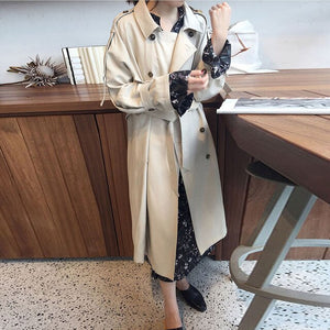 Stylish Over-the-Knee Mid-length Female Trench Coat Double breasted Trendy Lapel Women Clothes Vintage Casual Outwear Trench