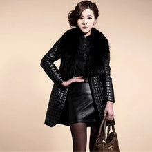 Load image into Gallery viewer, Brieuces new Autumn and winter new imitation fur coat fox fur collar PU leather women's long coat trench coat