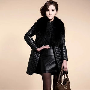 Brieuces new Autumn and winter new imitation fur coat fox fur collar PU leather women's long coat trench coat