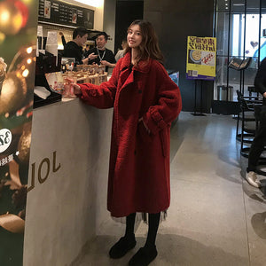 Winter Korean Style Loose Red Faux Lamb Fur Coat Female Mid-length Thick Lamb Coat Women Furry Jacket Windbreaker Outwear f2550