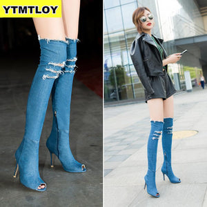 2019 Peep Toe Fashion Women Boots High Heels Spring Autumn Over The Knee Tight Stiletto Jeans Denim Rome Long Shoes  Zip
