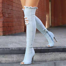 Load image into Gallery viewer, 2019 Peep Toe Fashion Women Boots High Heels Spring Autumn Over The Knee Tight Stiletto Jeans Denim Rome Long Shoes  Zip