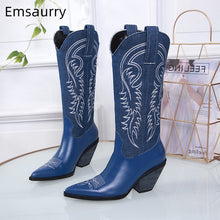 Load image into Gallery viewer, Sexy Embroidery Denim Cowboy Boots Women Block Heel Pointed Toe Sewing Real Leather Knee High Booties For Woman