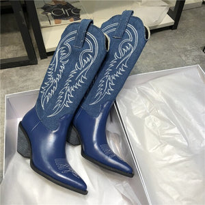 Sexy Embroidery Denim Cowboy Boots Women Block Heel Pointed Toe Sewing Real Leather Knee High Booties For Woman