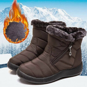 Hot Selling Women Winter Warm Snow Boots Plush-lined Slip On Waterproof Ankle Shoes -B5