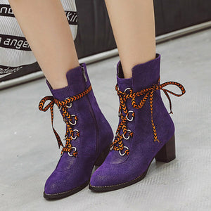Sarairis 2019 Dropship Plus Size 48 Square High Heels Retro Western Boots Woman Shoes Women Winter Boots Female