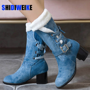 Plus size 34-43 winter shoes women snow boots denim buckle thick heel comfortable casual Mid-Calf boots woman hot sale AC011
