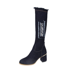 Lucyever Vintage Denim Elastic Knee High Boots Women 2020 Slip on Metal Thick High Heels Long Boots Woman Casual Tassel Shoes 41