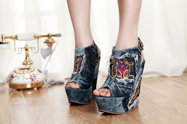Desinger Shoes Summer High Heels mules Open Toe Denim Blue jeans Sandals Luxury Brand Woman Wedges Peep Toe Cowboy Ankle Boots