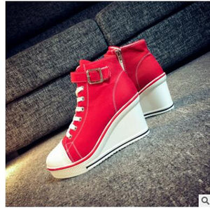 2019 Wedges High Zipper boots women Casual Shoes shoes woman High Top Canvas Shoes Women Travel Student zapatos de mujer 35-43
