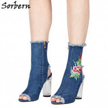 Load image into Gallery viewer, Sorbern Denim Embroidery Ankle Boots Transparent Clear Heels Women Boots Peep Toe High Heels Botas Women Made-to-order