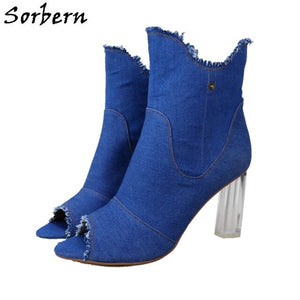 Sorbern Denim Embroidery Ankle Boots Transparent Clear Heels Women Boots Peep Toe High Heels Botas Women Made-to-order
