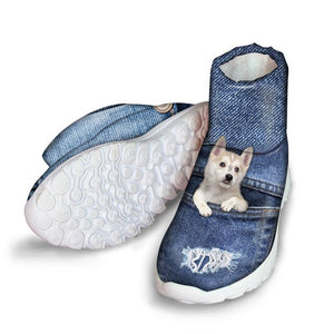 doginthehole Winter Boots for Women Denim French Bulldog Printing Snow Boots Ladies High-top Ankle Boots Females Slip-On Boots