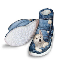 Load image into Gallery viewer, doginthehole Winter Boots for Women Denim French Bulldog Printing Snow Boots Ladies High-top Ankle Boots Females Slip-On Boots