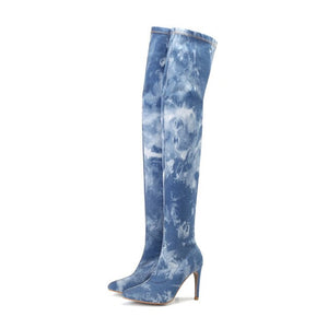 2020 Women Denim Blue Over The Knee Boots 10cm High Heels Jeans Fetish Long High Thigh Slim Boots Stiletto Stripper Cowboy Shoes