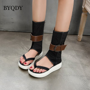 BYQDY Summer Gladiator Boots For Women Platform Shoes Denim Thick Heels Mid-Calf Height Increasing Boots Buckle Lady Shoes 2020