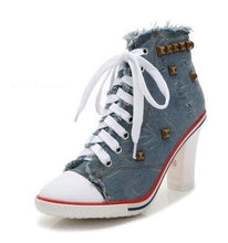 Load image into Gallery viewer, 2019 Boots Women Denim High heels Pumps Rivets canvas Sneakers Boots Ankle  Thick heel and Thin Heels Shoes zapatos de mujer