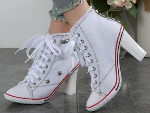 2019 Boots Women Denim High heels Pumps Rivets canvas Sneakers Boots Ankle  Thick heel and Thin Heels Shoes zapatos de mujer
